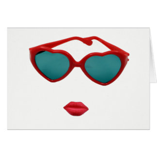 Red Sunglasses and Candy Lips Birthday Card