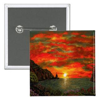 Red Sunset 15 Cm Square Badge