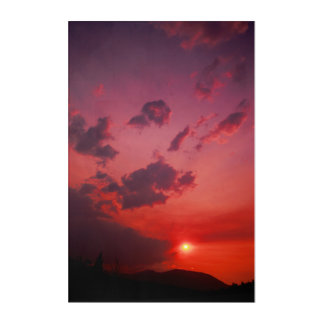 Red Sunset Acrylic Wall Art