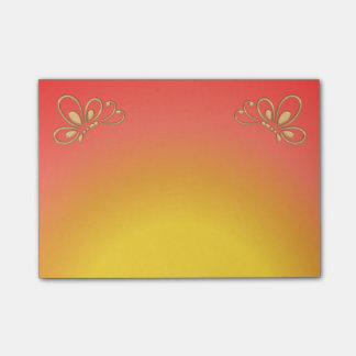 Red Sunset and Gold Butterfly Profile Post-it Notes