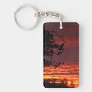 Red Sunset and Oak Tree Keychain