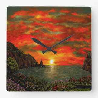 Red Sunset by Ave Hurley Wallclock