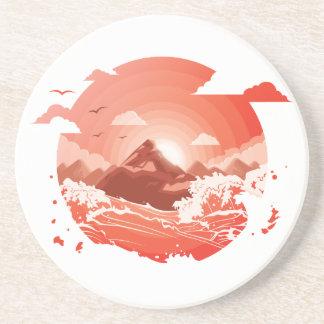 Red sunset coaster