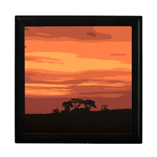 Red Sunset Large Square Gift Box