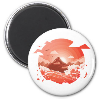 Red sunset magnet