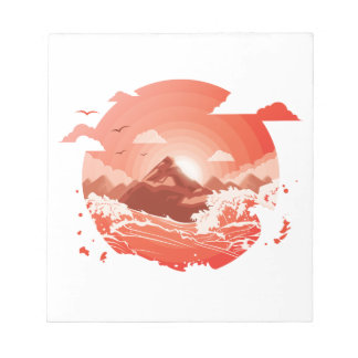 Red sunset notepad