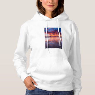 Red sunset over the sea, California Hoodie