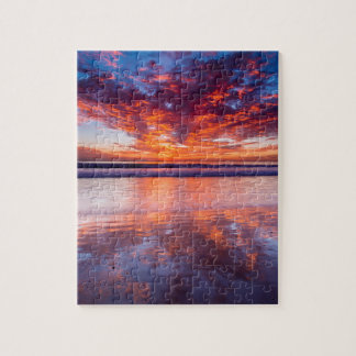 Red sunset over the sea, California Jigsaw Puzzle