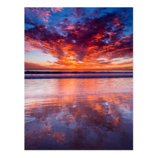 Red sunset over the sea, California Postcard