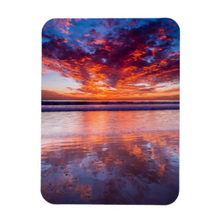 Red sunset over the sea, California Rectangular Photo Magnet