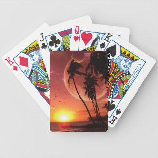 Red Sunset Planets Bicycle Playing Cards