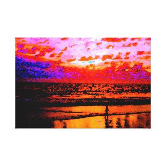 Red Sunset Santa Monica ArtisticVegas CharlesMeade Canvas Print