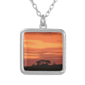 Red Sunset Silver Plated Necklace