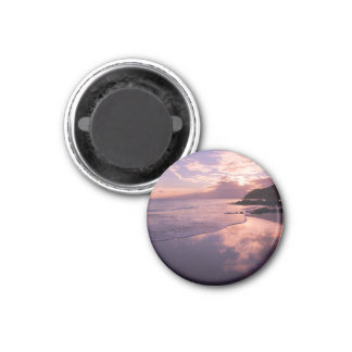 Red sunset, the clouds, the beach 3 cm round magnet