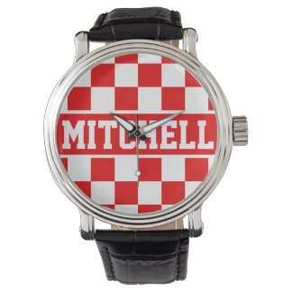 Red Super Checker Personalized Wristwatches