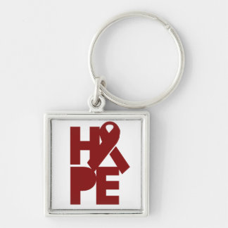 Red Support Ribbon Silver-Colored Square Key Ring