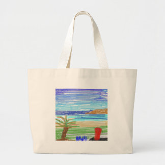Red Surfboard on Kaanapali Beach, Hawaii Large Tote Bag