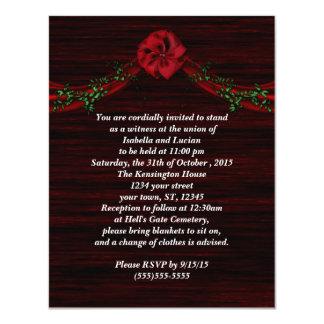 """Red Swag Bow Goth Wedding Invitations 4.25"""" X 5.5"""" Invitation Card"""