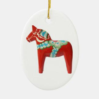 Red Swedish Dala Horse Ceramic Ornament