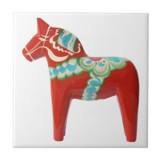 Red Swedish Dala Horse Small Square Tile