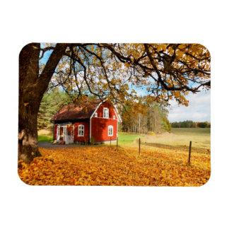 Red Swedish House Amongst Autumn Leaves Rectangular Photo Magnet