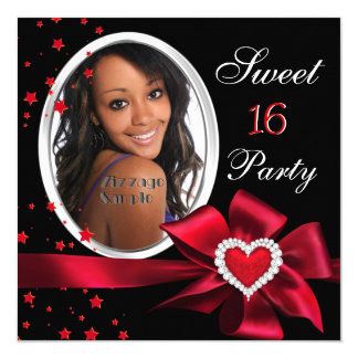 Red Sweet 16 Birthday Party Heart Photo Silver Card