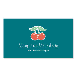 Red Sweet Cherries Illustration Kawaii Pack Of Standard Business Cards