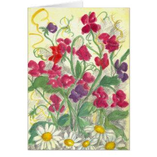 Red Sweet Pea Flower Garden Watercolor Blank Card