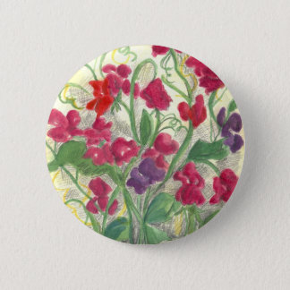 Red Sweet Pea Flower Garden Watercolor Drawing 6 Cm Round Badge