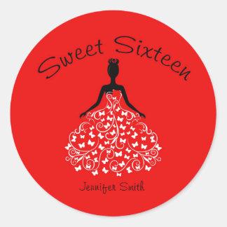 Red Sweet Sixteen Butterfly Gown Envelope Seals Round Sticker