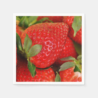Red Sweet Strawberries Disposable Serviettes
