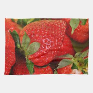 Red Sweet Strawberries Tea Towels