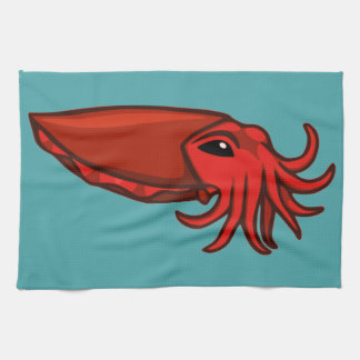 Red Swimming Cuttlefish Kitchen Towels