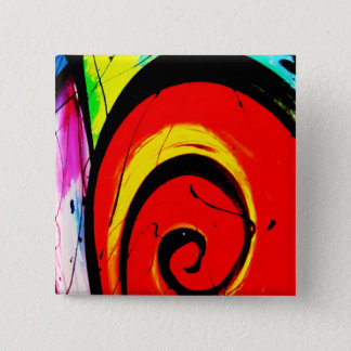 Red Swirl Abstract Art 15 Cm Square Badge