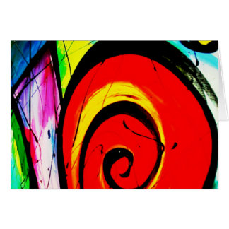 Red Swirl Abstract Art Card