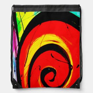 Red Swirl Abstract Art Drawstring Bag