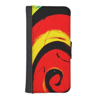 Red Swirl Abstract Art iPhone SE/5/5s Wallet Case