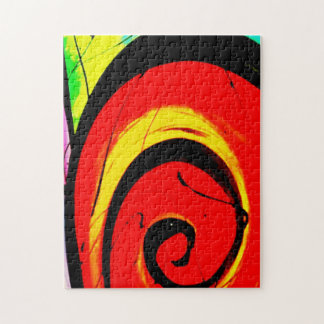 Red Swirl Abstract Art Jigsaw Puzzle