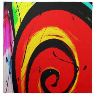 Red Swirl Abstract Art Napkin