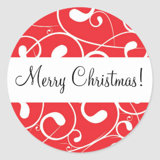 Red Swirl, Merry Christmas! Round Sticker