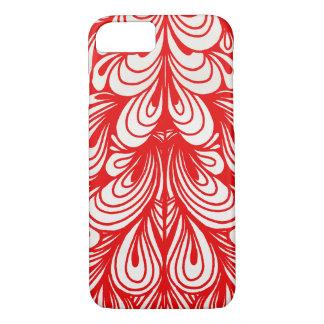 Red Swirls Curls Artistic Pattern iPhone 7 Case