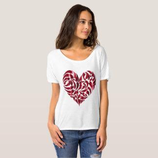 Red Swirls Heart Valentines T-shirt