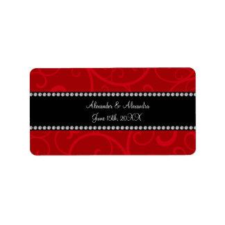 Red swirls wedding favors address label