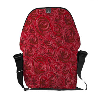 red swirly circle floral batik courier bags