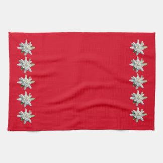 Red Swiss Towel Switzerland Edelweiss flowers
