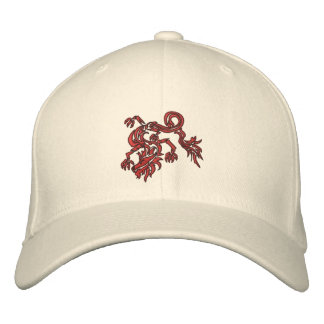 red swoosh dragon embroidered baseball caps