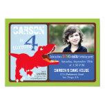 "Red T-Rex Dinosaur Fourth Birthday Invitation Card 5"" X 7"" Invitation Card"