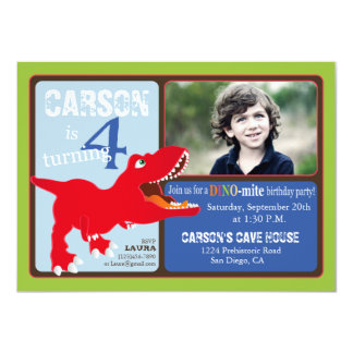 "Red T-Rex Dinosaur Fourth Birthday Invitation Card 4.5"" X 6.25"" Invitation Card"