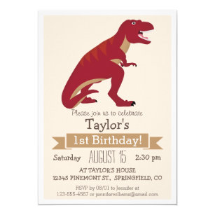 Red T Rex Dinosaur Kids Birthday Party Invitation