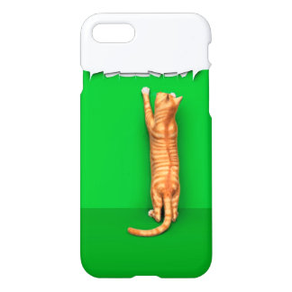 Red tabby cat rips paper iPhone 7 case
